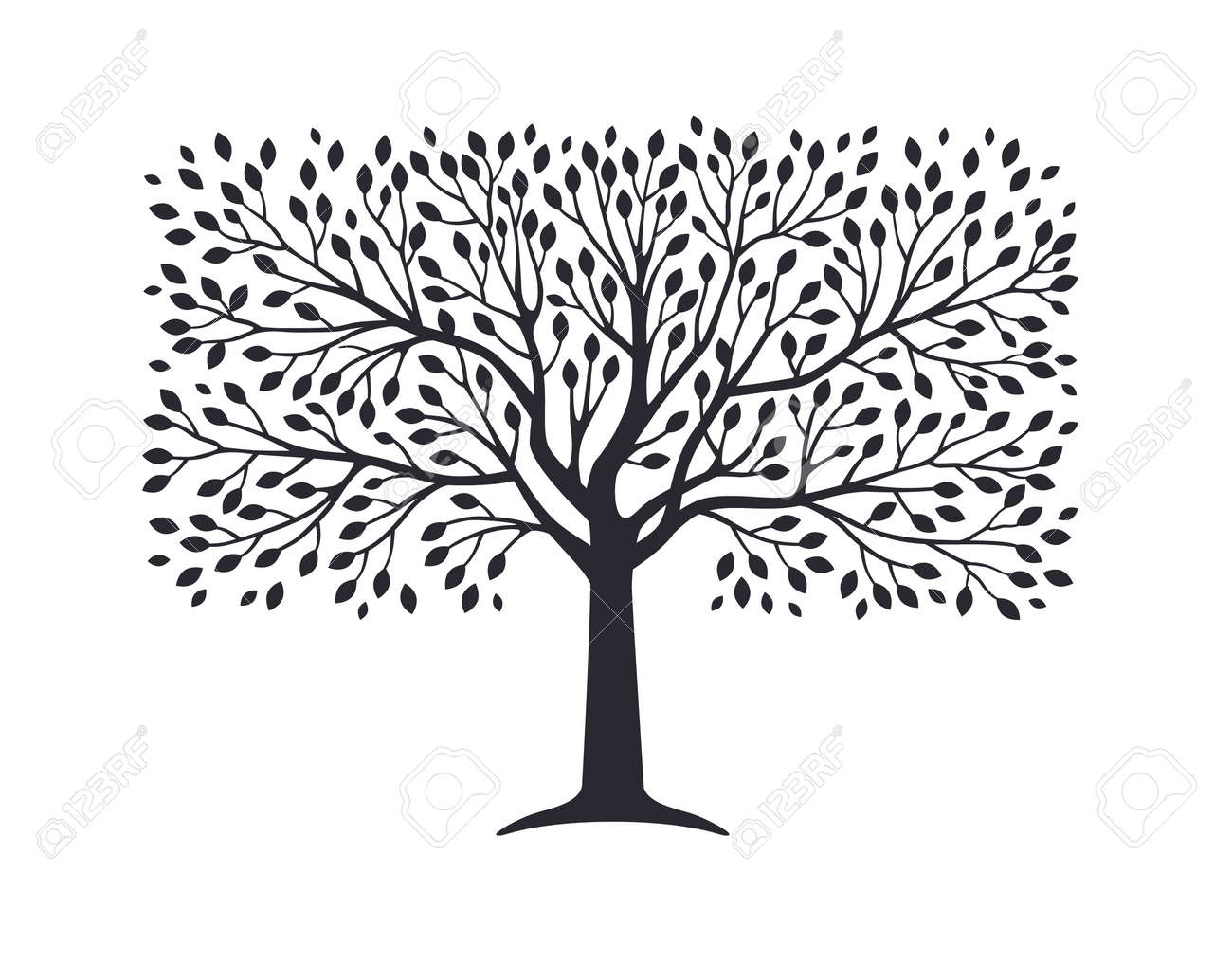 Olive tree silhouette isolated on white background. Vector illustration. Premium quality extra virgin oil, nature logo - 159466415
