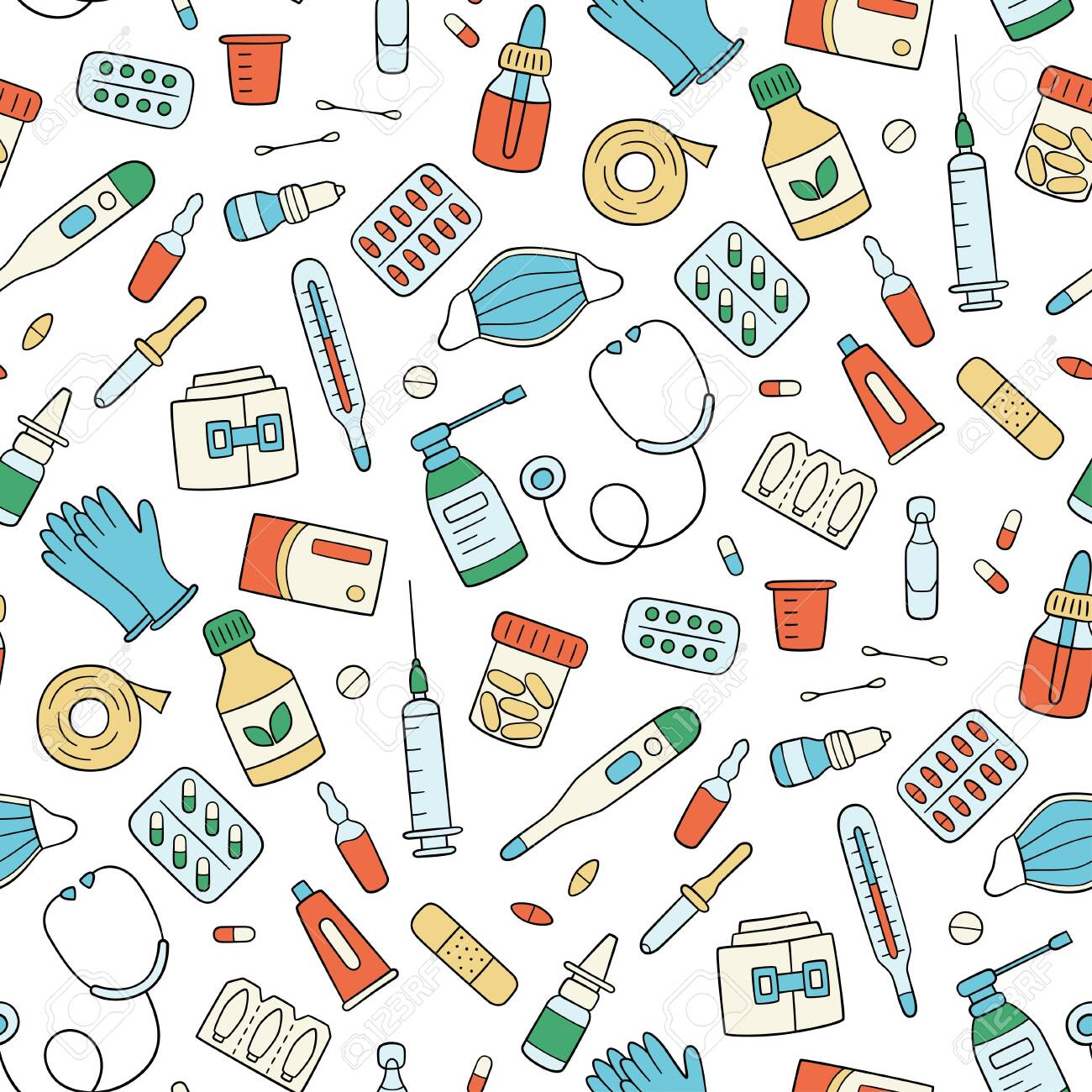 Meds, drugs, pills, bottles and health care medical elements. Color seamless pattern. Vector illustration in doodle style on white background - 147428747
