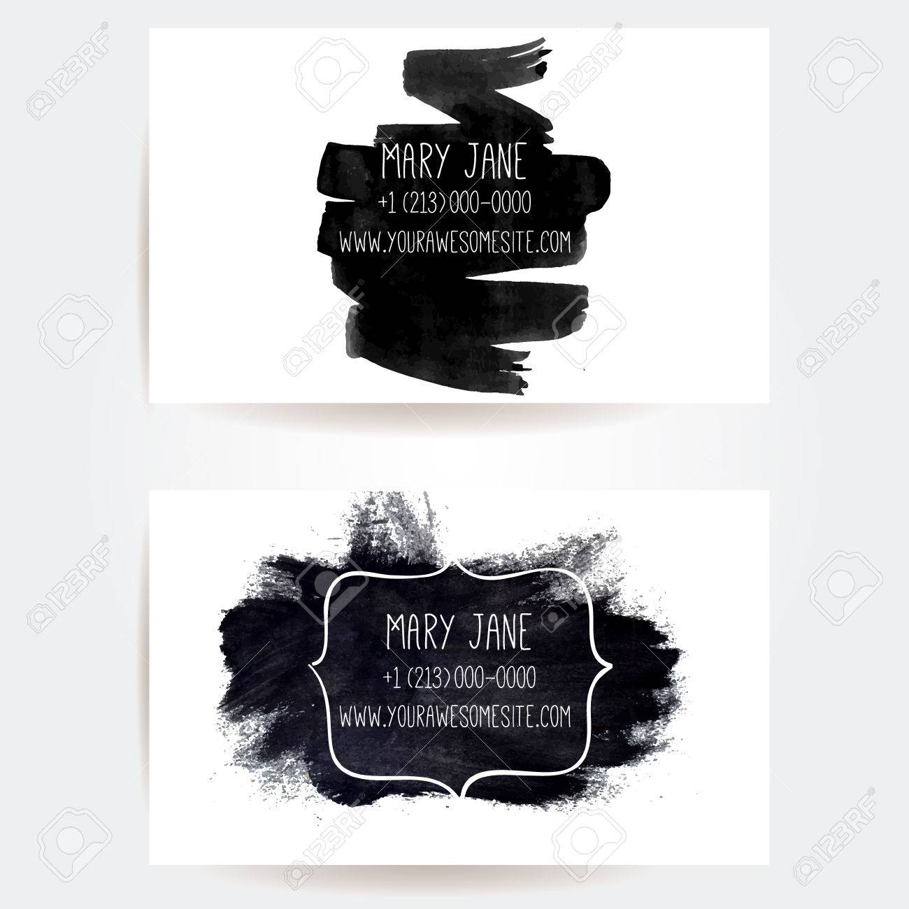Set of creative business card templates with artistic vector set of creative business card templates with artistic vector design black ink brush strokes and cheaphphosting Image collections