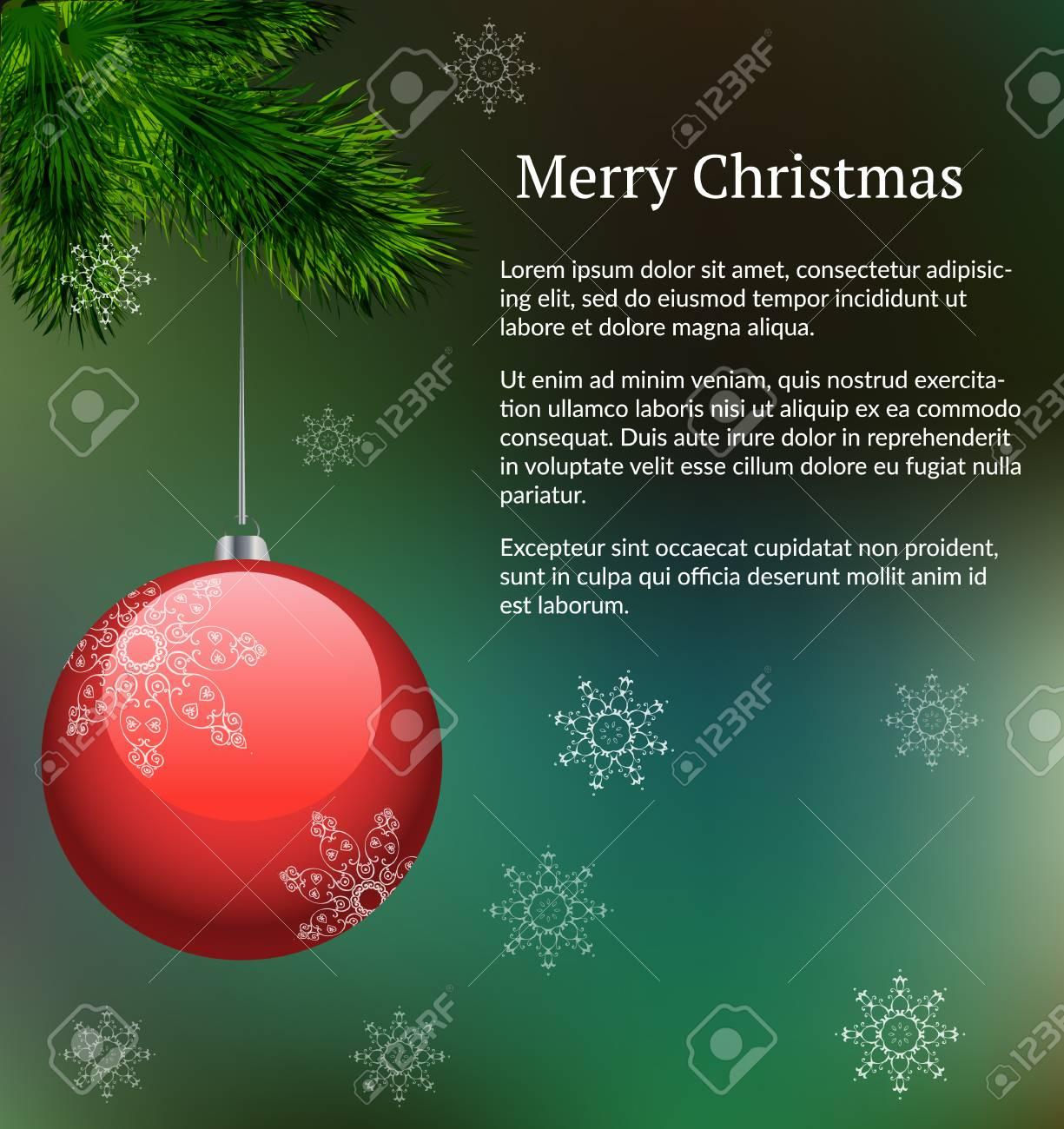 Grüne Vektor Layout Mit Zweig Der Weihnachtsbaum Mit Hängenden Red