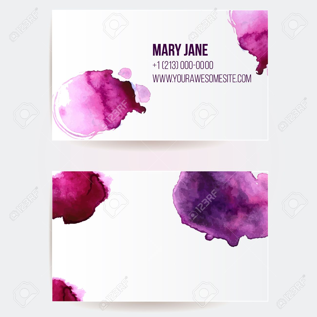 Double Sided Business Card Template With Pink And Violet ...
