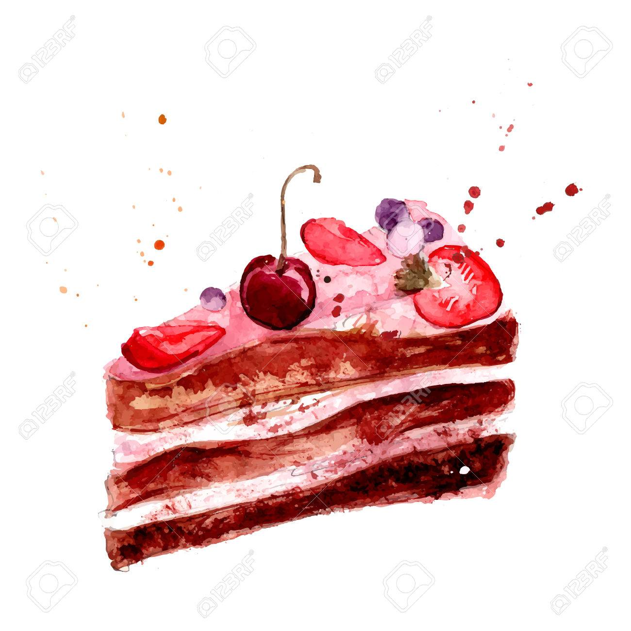 ピンクのフルーツ クリームチェリーとイチゴのケーキベクトル