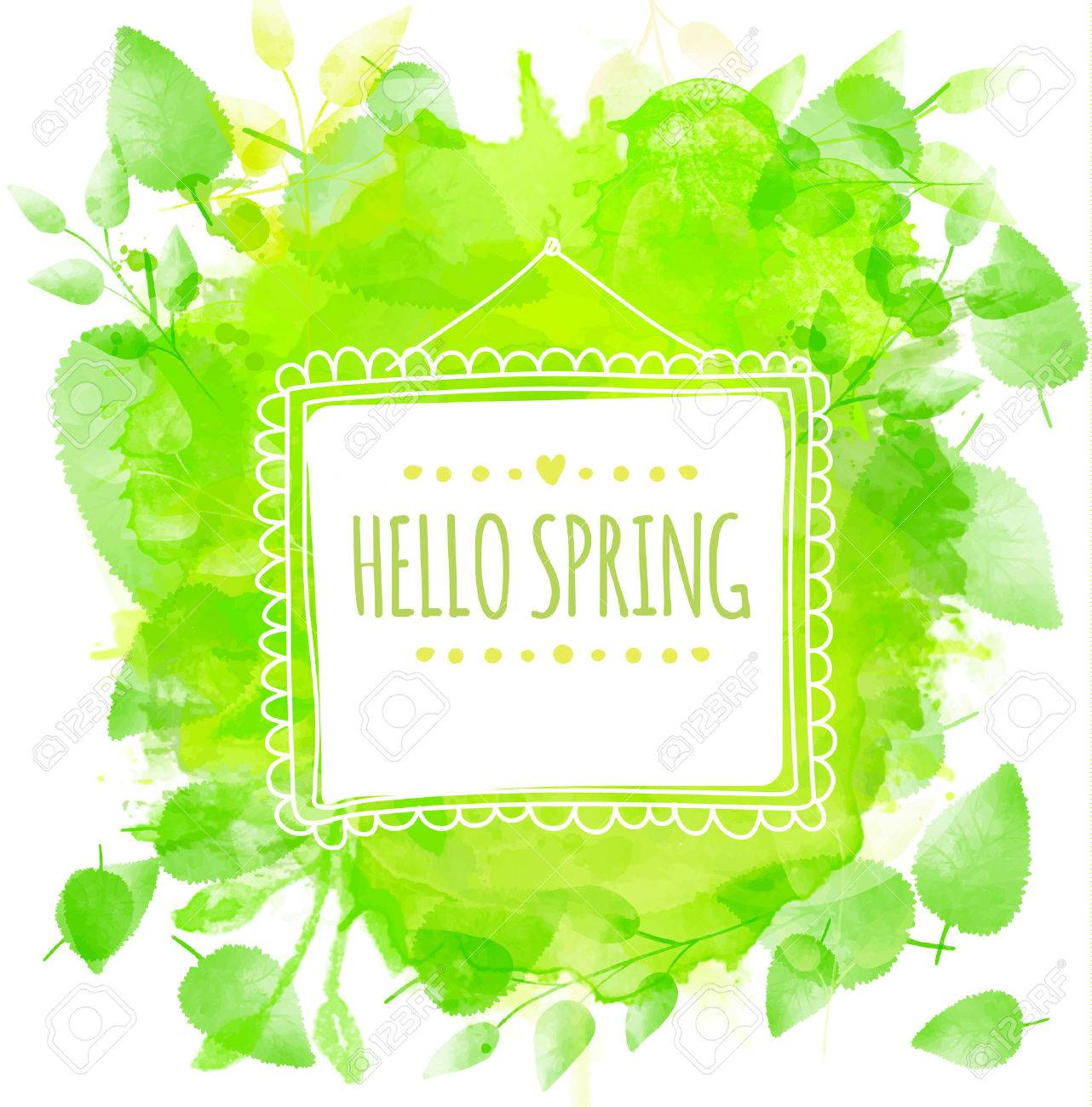 Quadratischen Rahmen Mit Text Hallo Frühling. Grüne Aquarell Splash ...