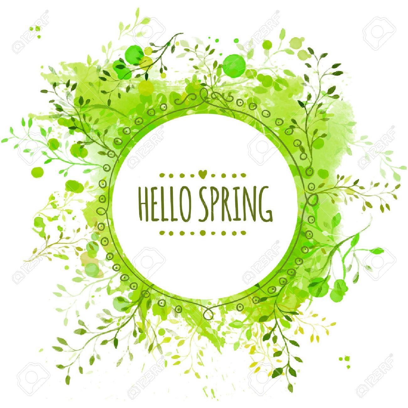 Marco Del Círculo Con La Primavera Hola Texto. Fondo De Bienvenida ...