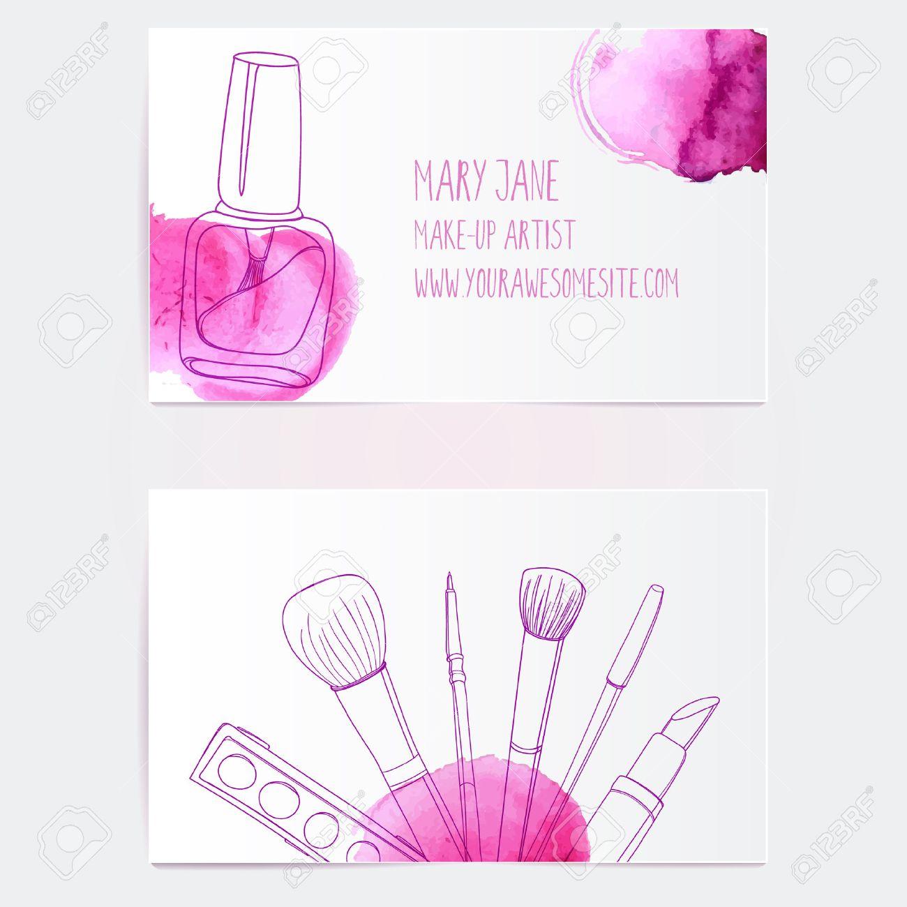 Maquillage Modele Artiste Carte De Visite Vecteur Mise En Page Avec Illustrations Dessinees A La Main Vernis Ongles Le Tube Brosse