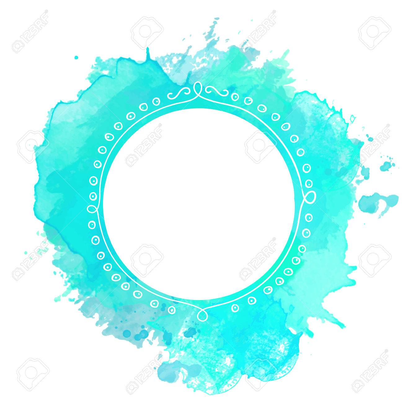 marco del doodle blanco sobre fondo azul turquesa chapoteo de la pintura vector teln de