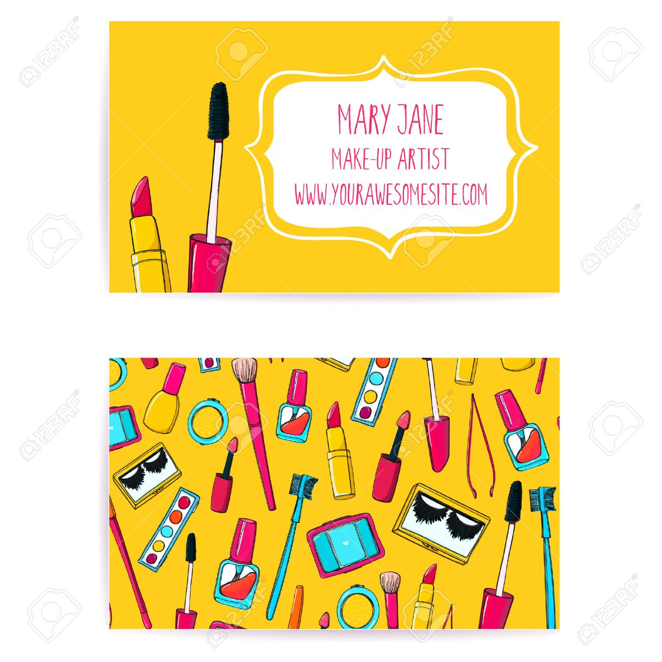 Colorful Make Up Artist Business Card Template. Vector Layout With ...