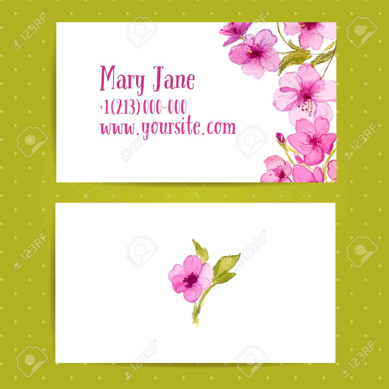 Business Card Template With Watercolor Flowers Of Cherry Blossom ...
