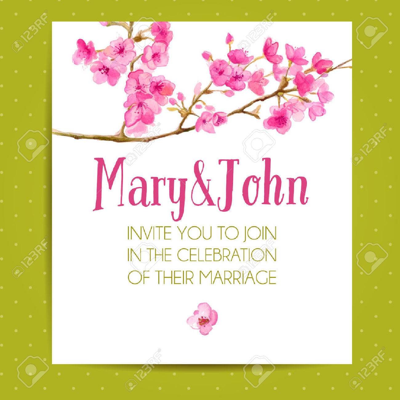 Wedding Invitation Layout With Sakura Flowers. Vector Template ...
