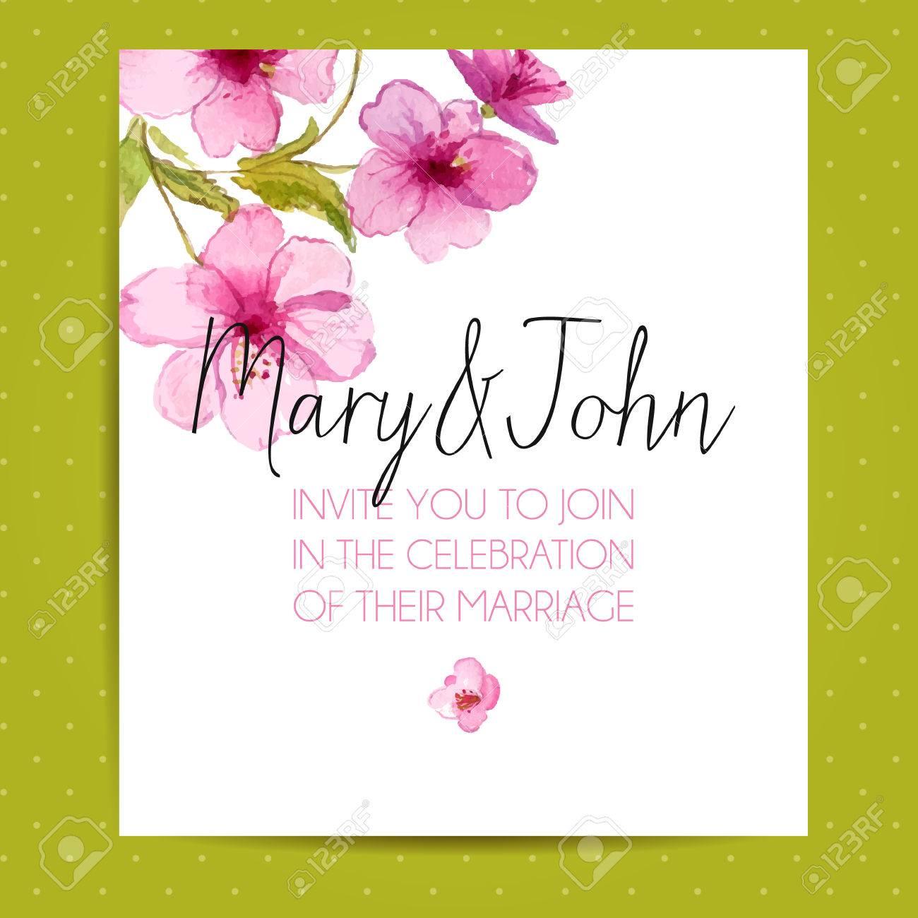 Wedding invitation layout with sakura flowers vector template wedding invitation layout with sakura flowers vector template with watercolor floral art stock vector stopboris Image collections