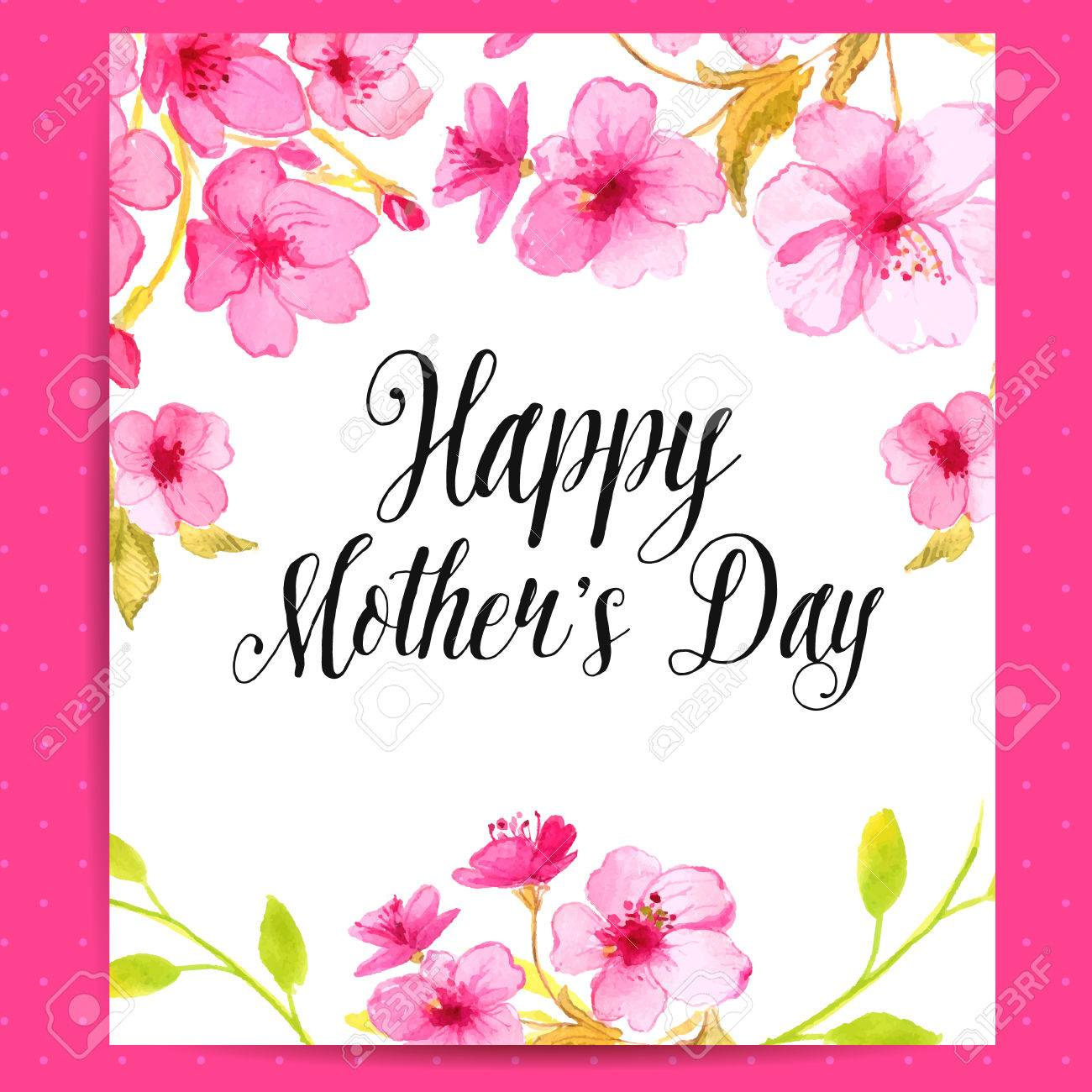 Happy mothers day card with cherry blossom vector layout with happy mothers day card with cherry blossom vector layout with watercolor floral art stock kristyandbryce Image collections