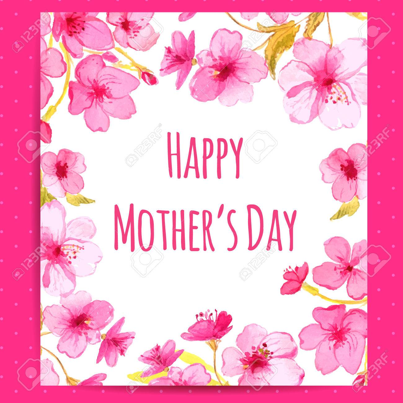 Happy Mothers Day Card With Cherry Blossom Frame Vector Layout