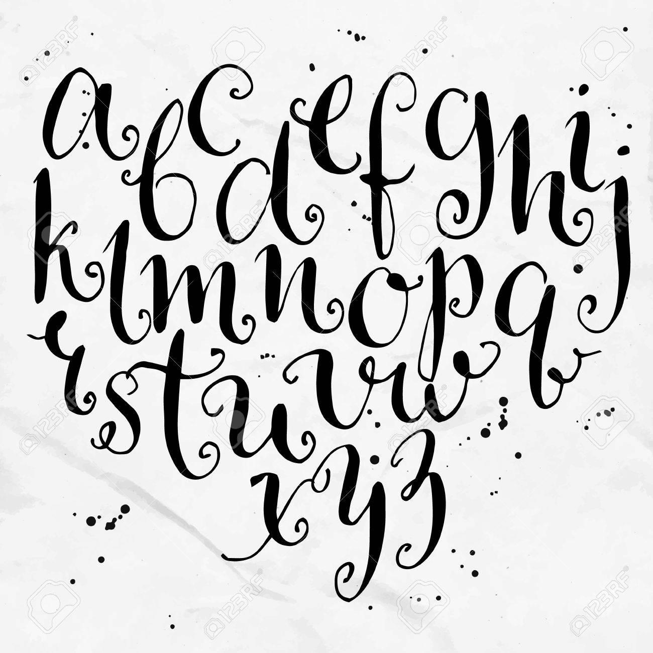 Alphabet Artistique vecteur bouclés alphabet. main artistique attirée lettres. clip art