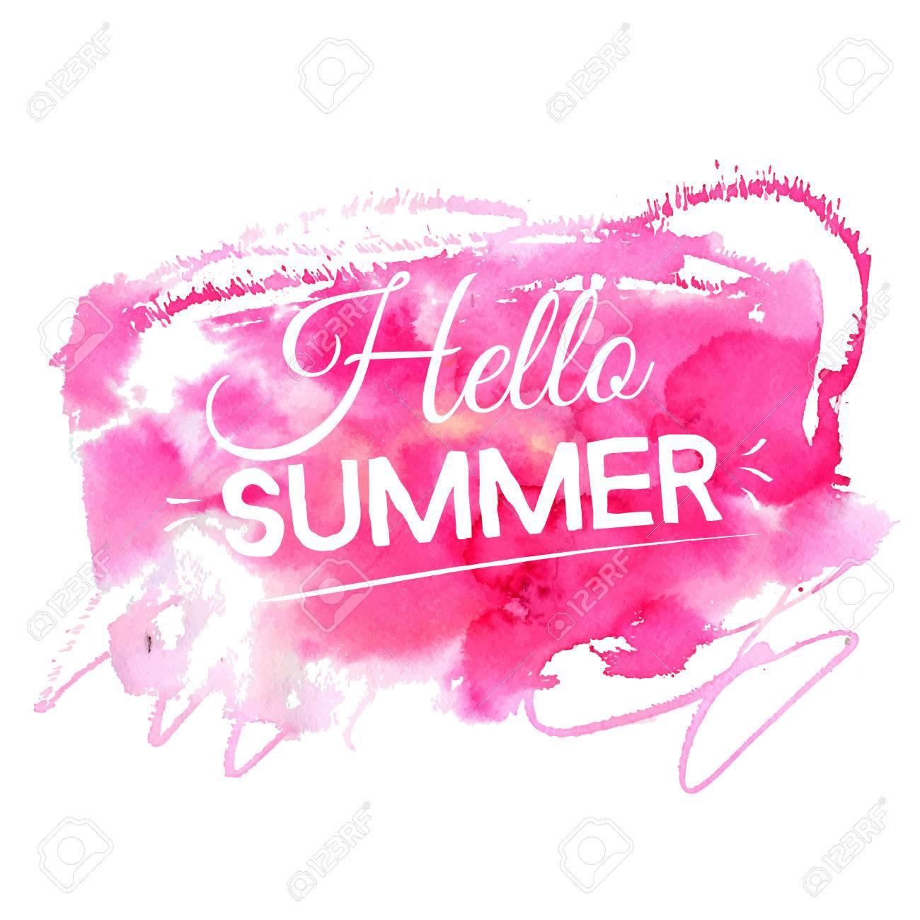 こんにちは明るい夏のイラスト芸術的なピンク水彩画スプラッシュの