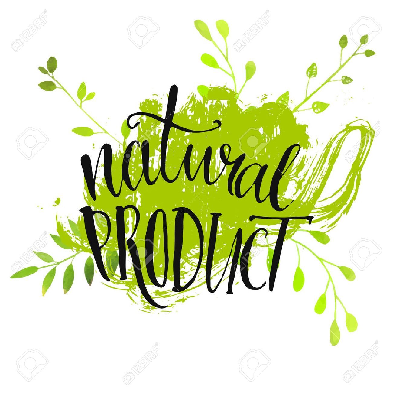 Natural product sticker - handwritten modern calligraphy on grunge green paint strokes. Eco friendly concept for stickers, banners, cards, advertisement. - 42498708