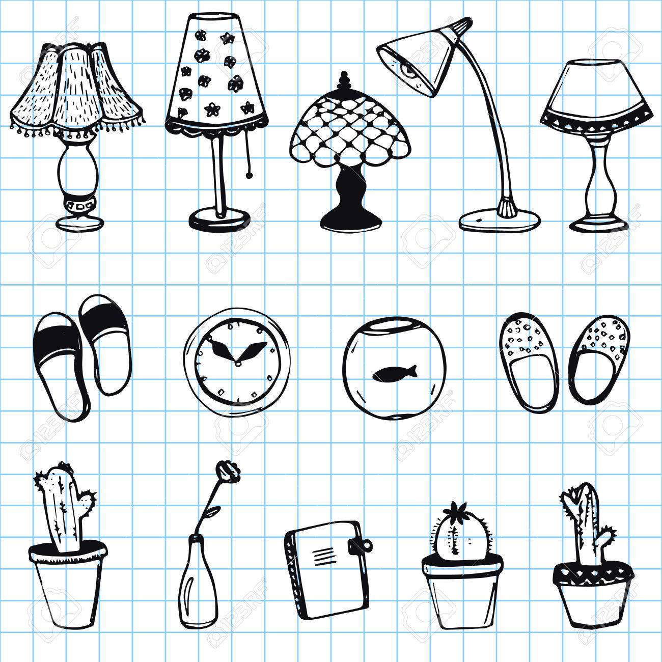 Set Of Hand Drawn Home Items Doodle Icons On Notebook Paper ...