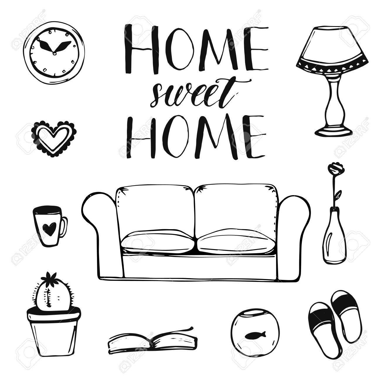 Sofa gezeichnet  Set Hand Gezeichnete Home Interior Doodles: Sofa, Lampe, Uhr ...