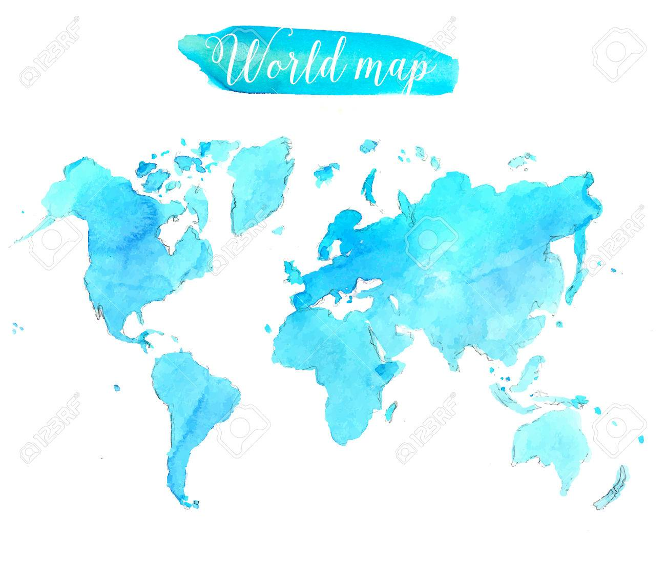 Blue watercolor world map creative illustration royalty free blue watercolor world map creative illustration stock vector 42521437 gumiabroncs Choice Image