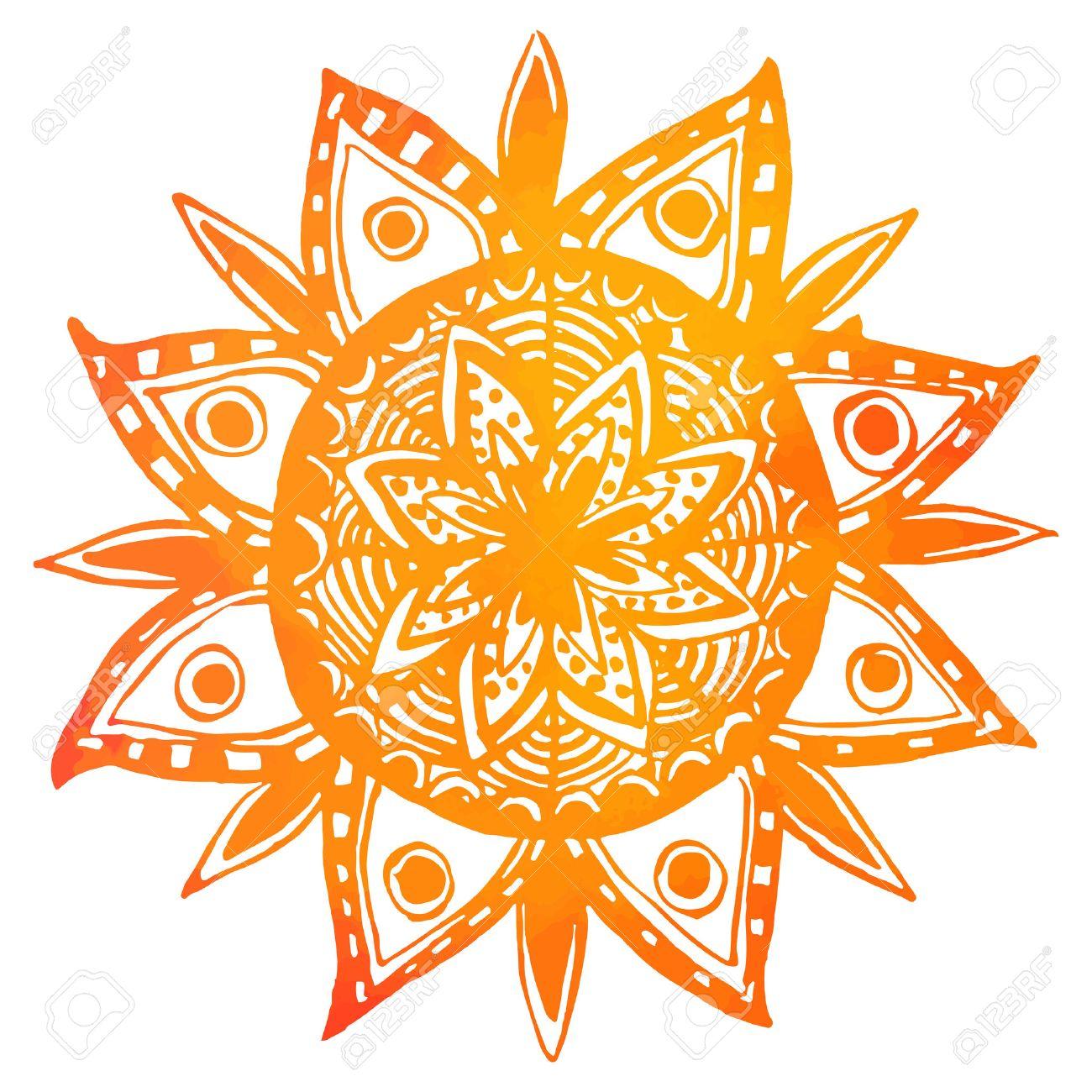 Tiré Par La Main Aquarelle Orange Du Soleil Tribal. Vecteur Mandala ...