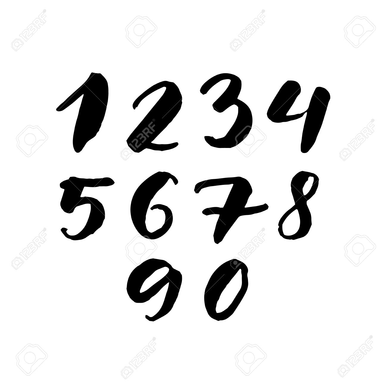 Black Handwritten Numbers 1 2 3 4 5 6 7