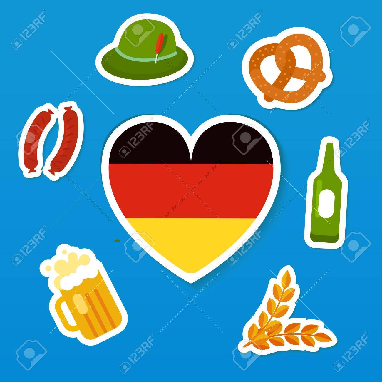 Set of symbols of oktoberfest traditional festival of beer set of symbols of oktoberfest traditional festival of beer flag of germany in heart buycottarizona