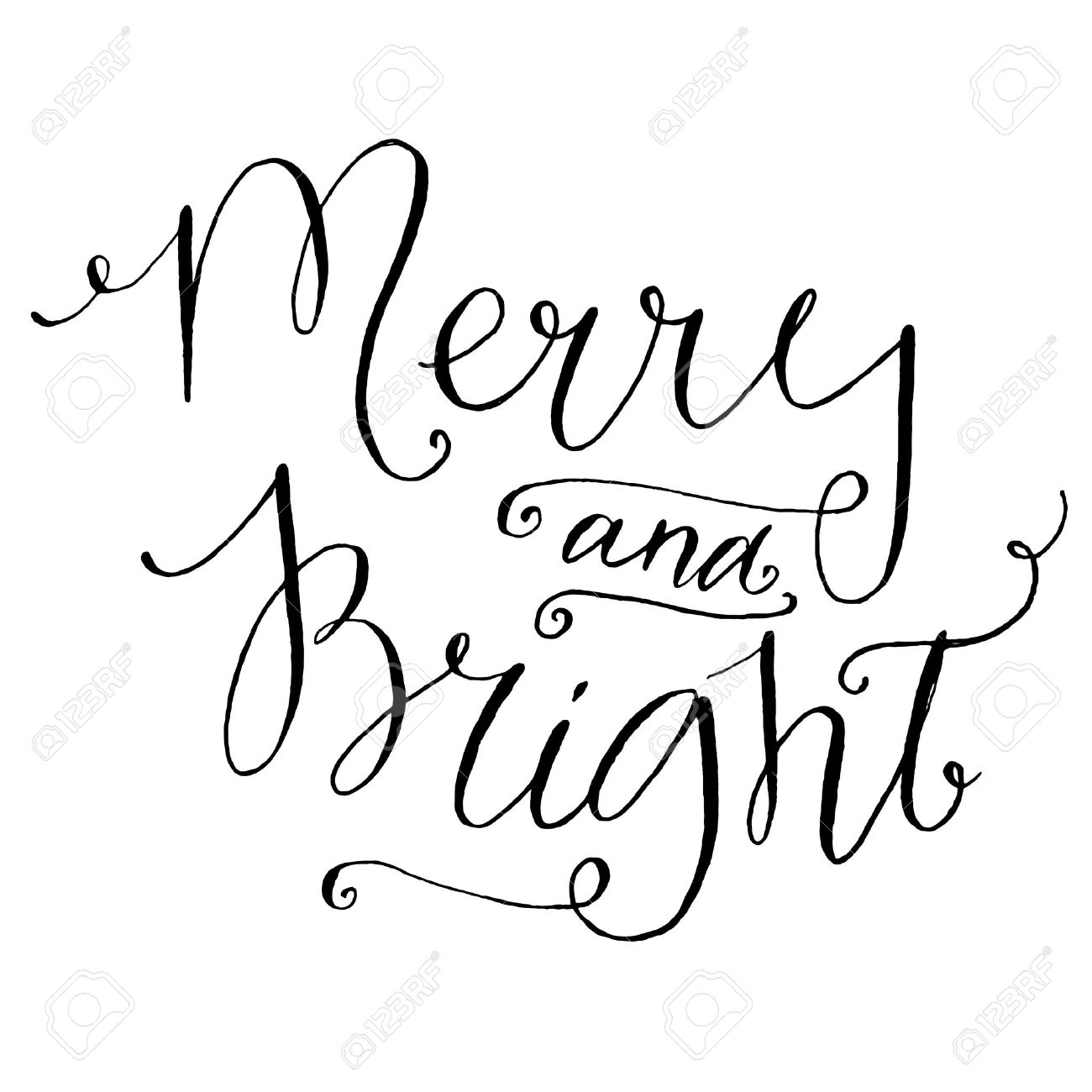 Merry And Bright. Whimsical Calligraphy For Christmas Cards And ...