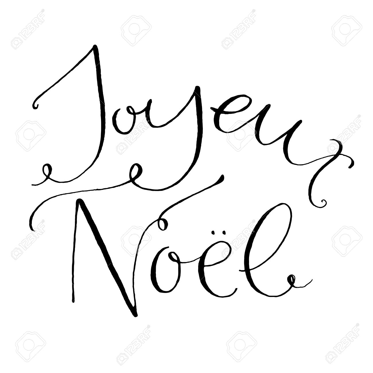 Joyeux Noel Frase Francés Significa Feliz Navidad Caligrafía Caprichosa