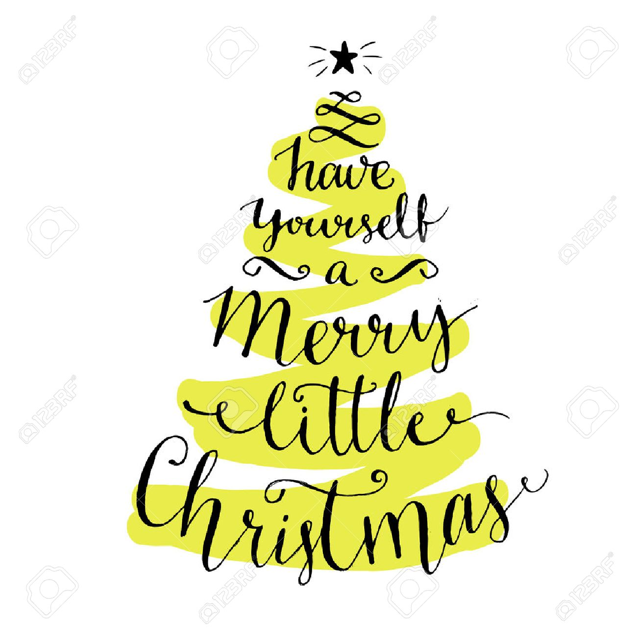 have yourself a merry little christmas modern calligraphy for winter holidays cards and posters