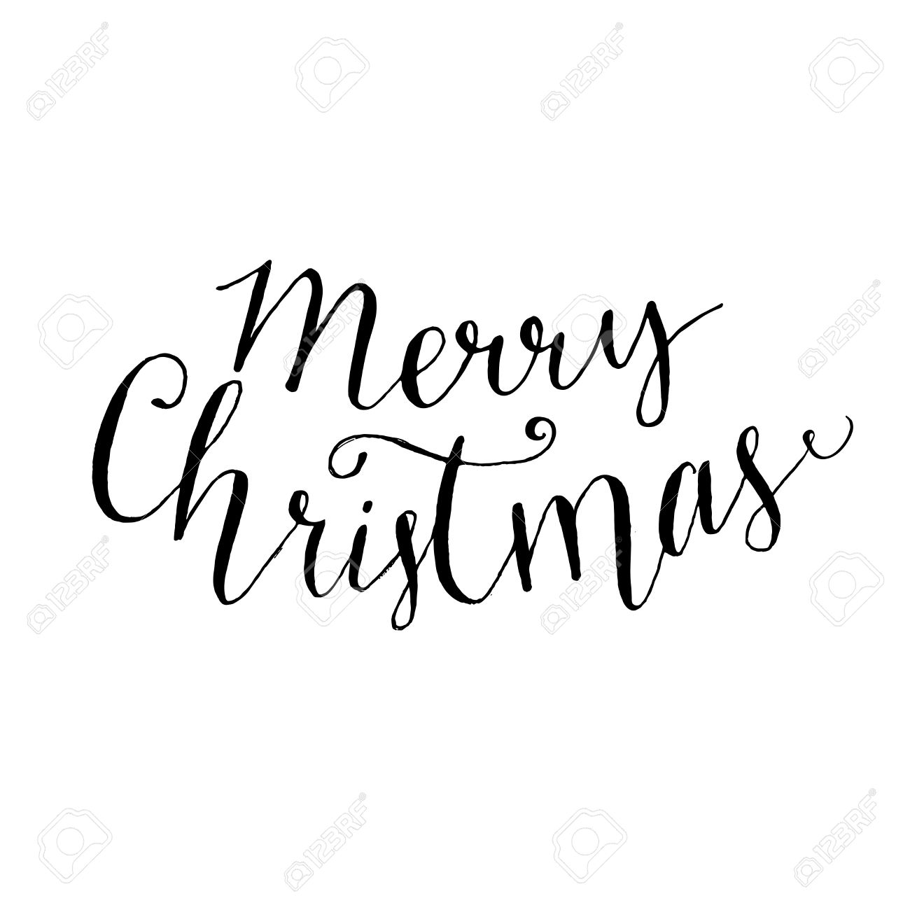 Merry Christmas Text. Modern Calligraphy Type, Vector Lettering ...