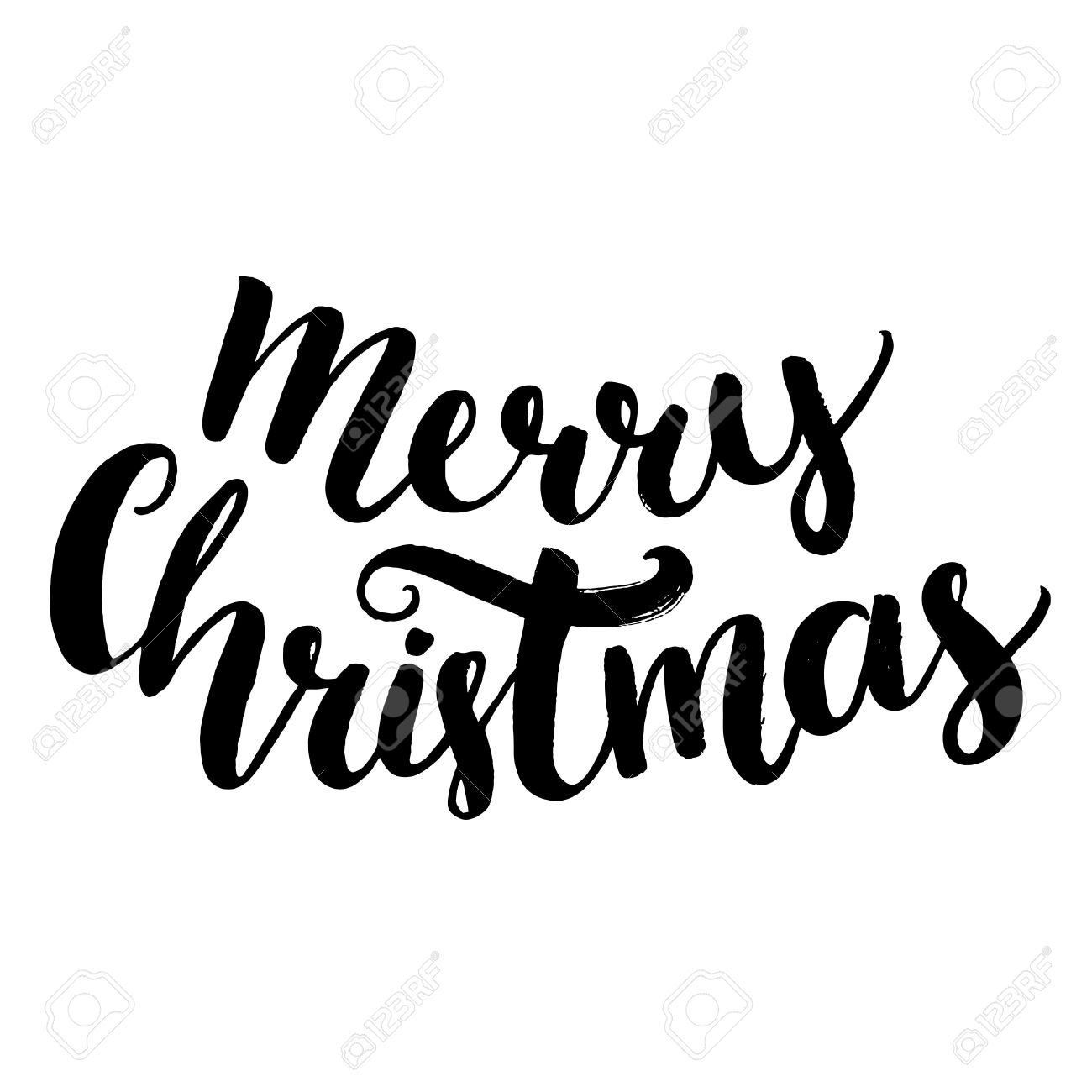 Merry Christmas Text. Brush Calligraphy Type, Vector Lettering ...