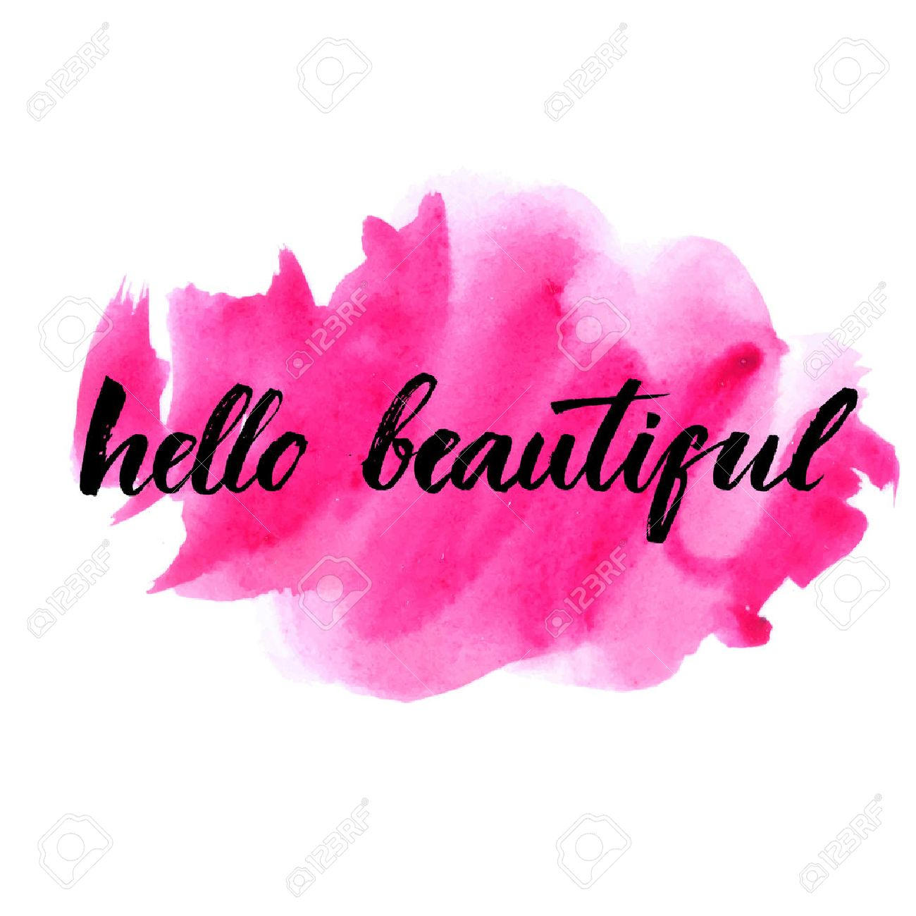 Hello beautiful - vector lettering with hand drawn heart. Calligraphy phrase for gift cards, baby birthday, scrapbooking, beauty blogs. Typography art. - 47454237