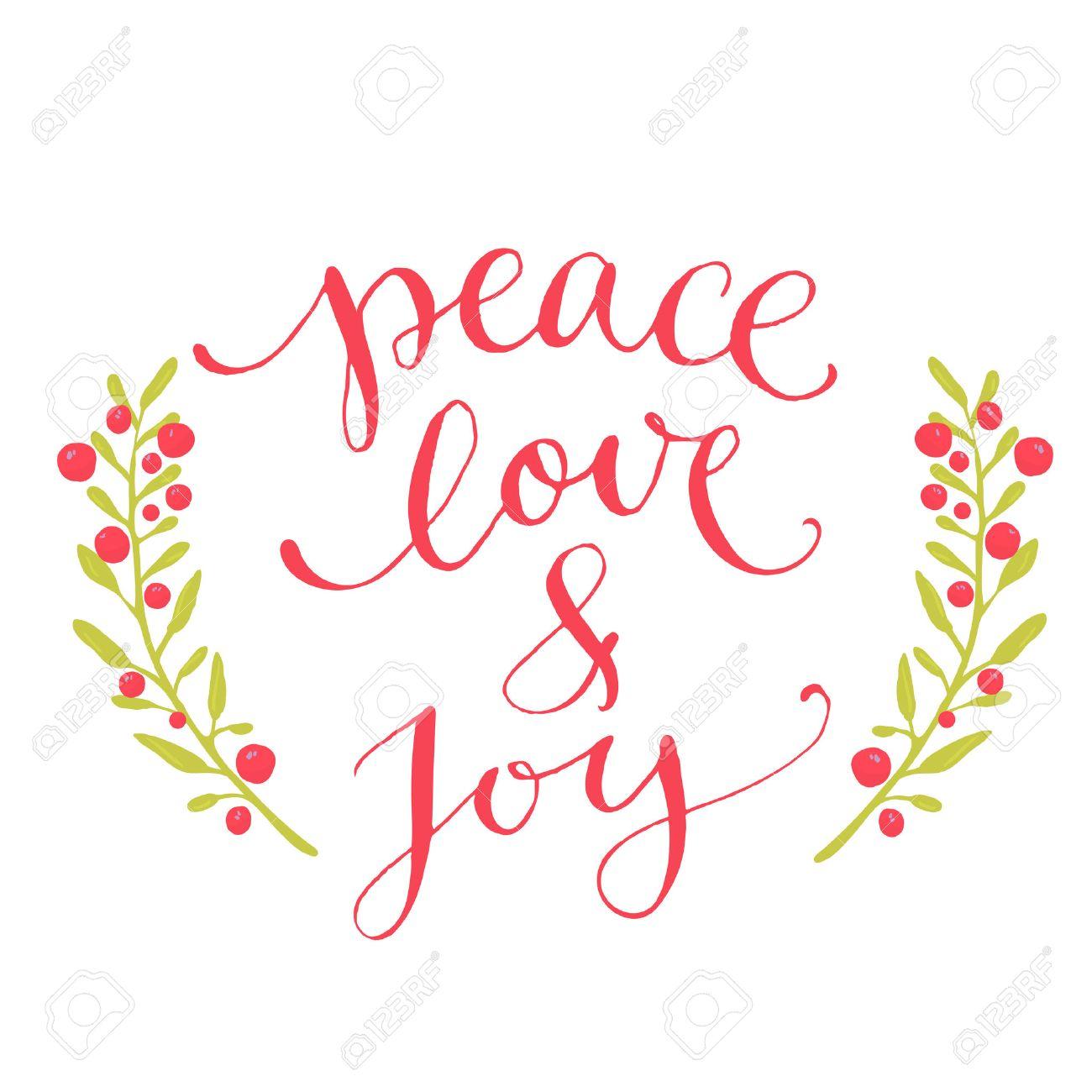 La Paz El Amor Y La Alegria De Texto Tarjeta De Navidad Con La