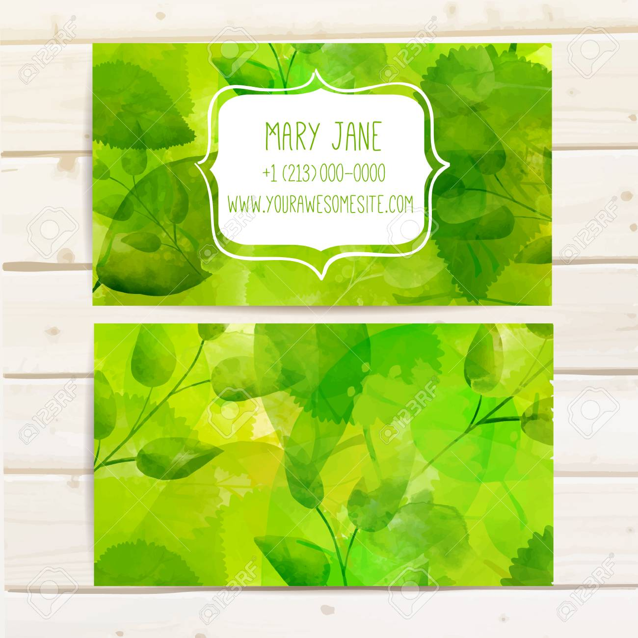 Nature creative business card template with artistic vector design nature creative business card template with artistic vector design green leaves with texture stock reheart Images
