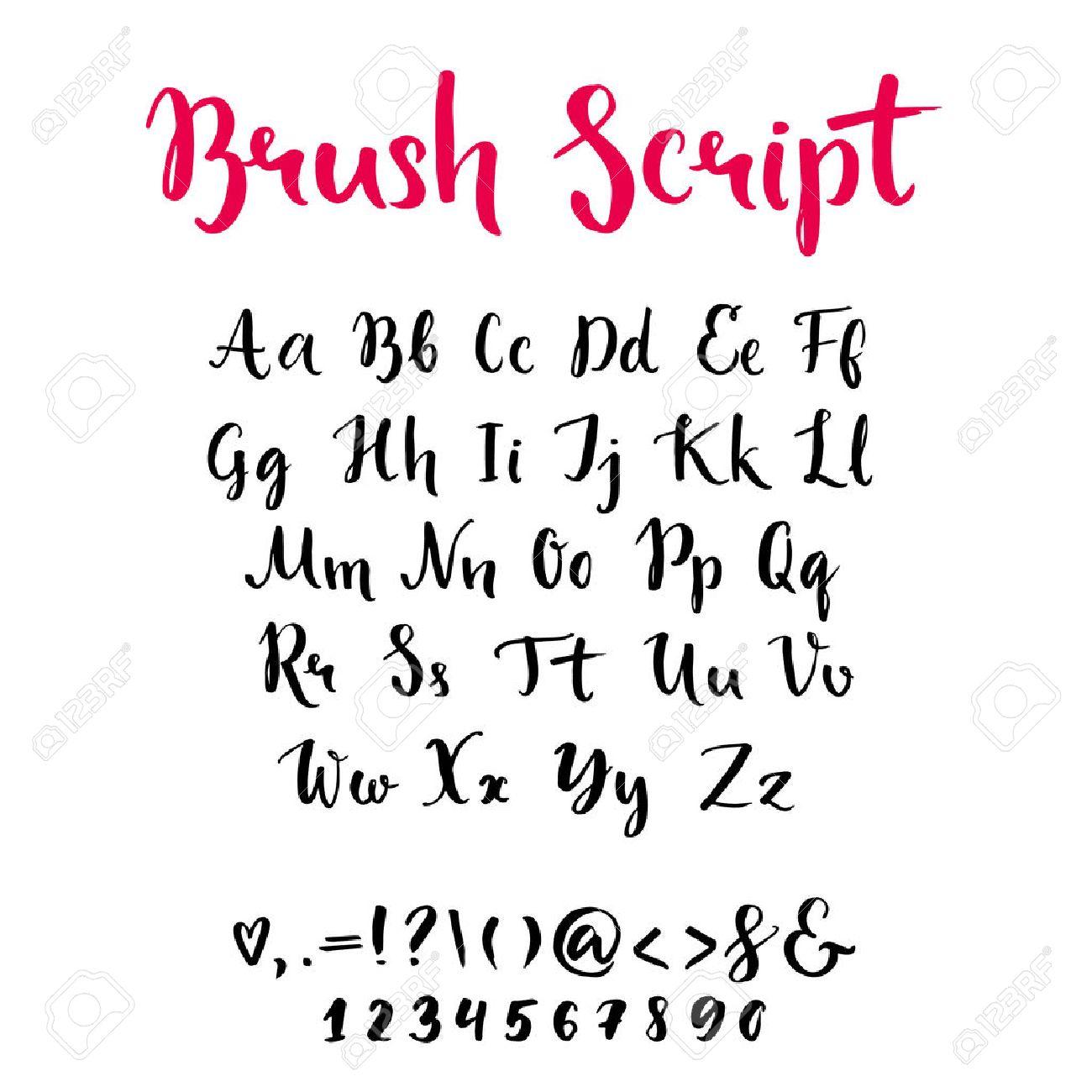 Brush Script With Lowercase And Uppercase Letters Keystrokes Digits Full Alphabet Handwritten