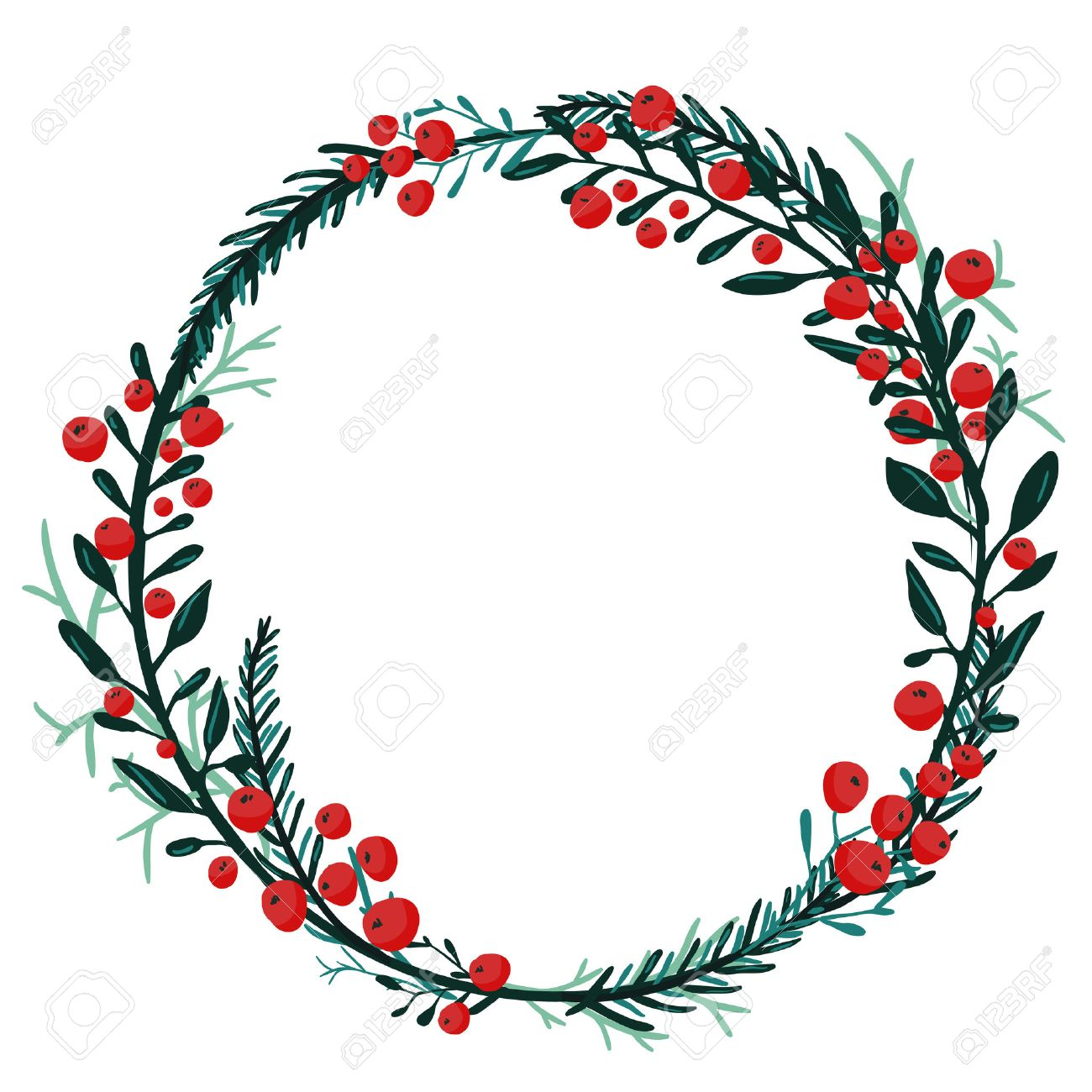 Round frame with decorative branch vector illustration stock - Hand Drawn Wreath With Red Berries And Fir Branches Round Frame For Christmas Cards And