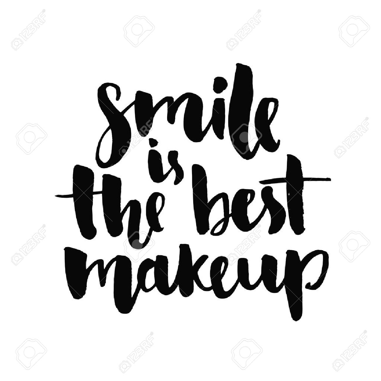 Smile Is The Best Makeup Inspirational Quote Handwritten With
