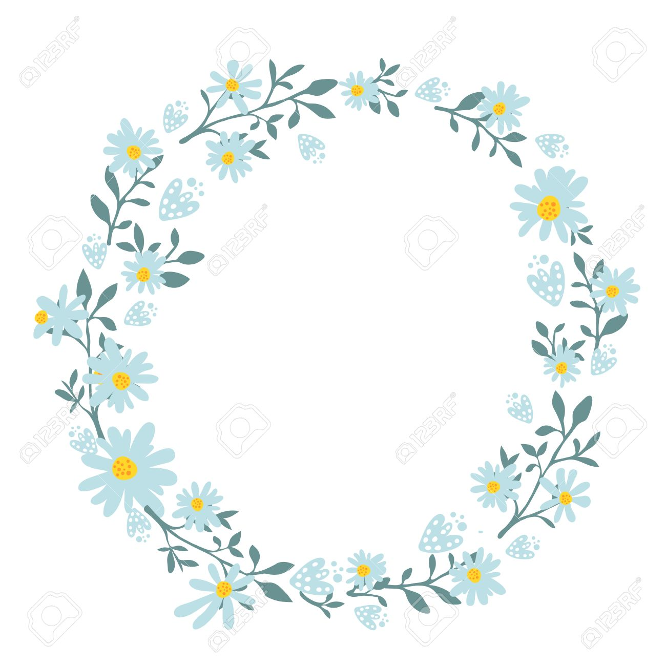 Hand Drawn Spring Wreath With Camomile Flowers. Round Frame For ...