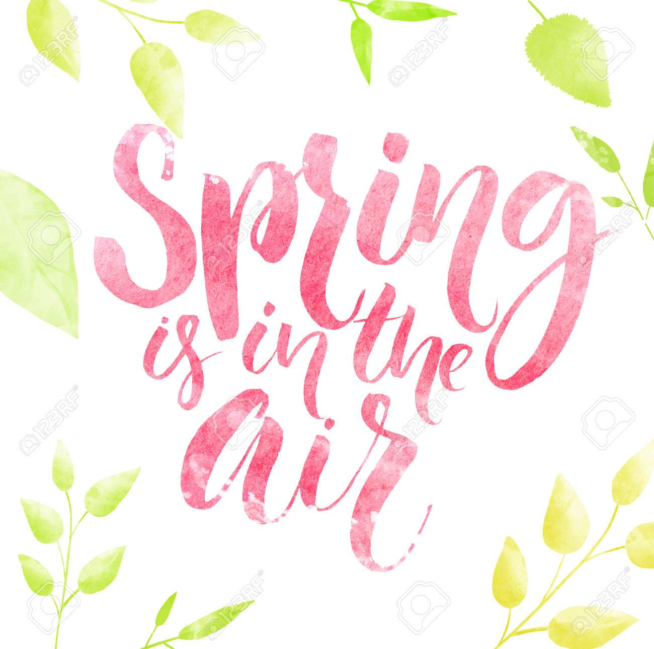 Spring is in the air watercolor lettering in green leaves frame. - 53973198