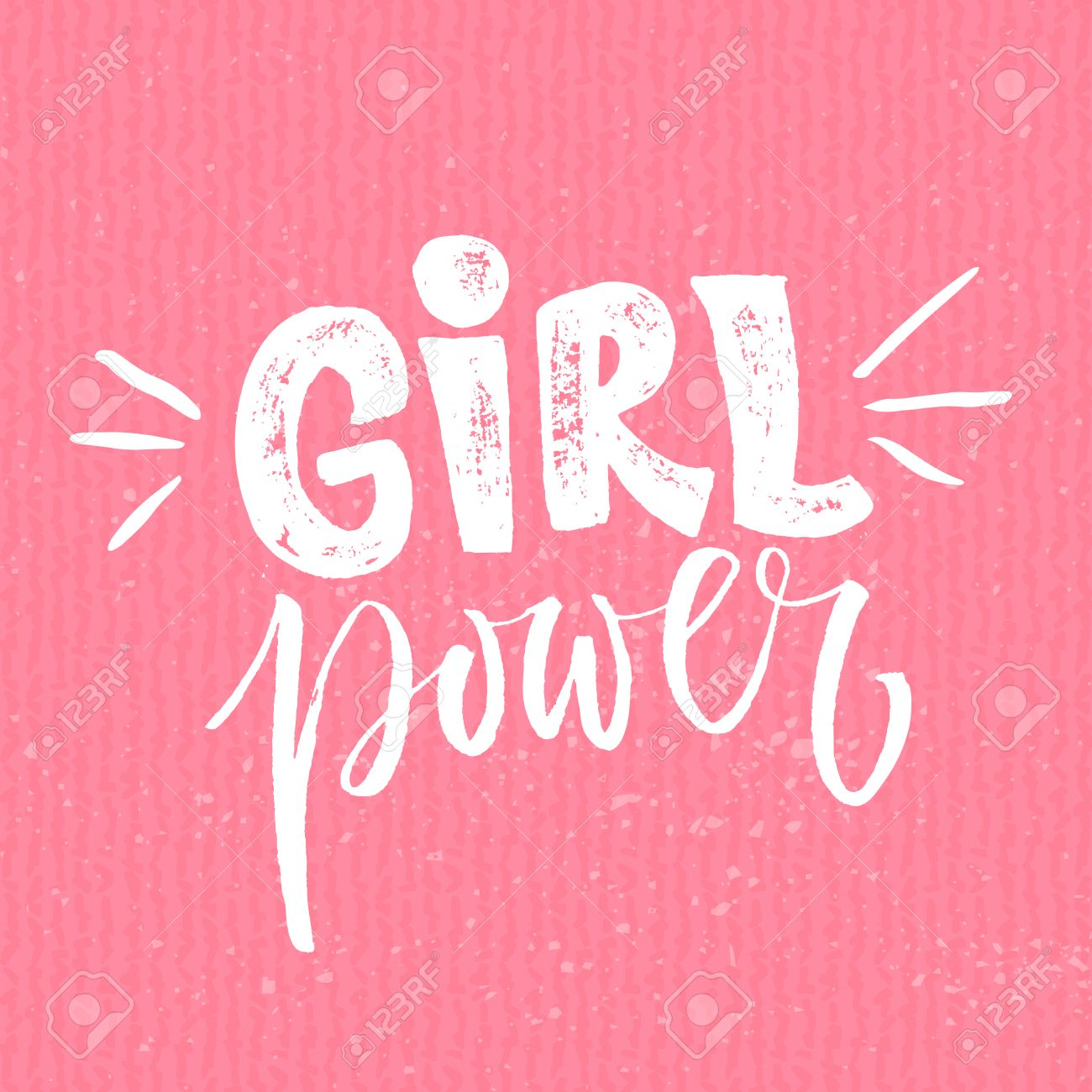 Pouvoir Des Filles Féminisme Citation Slogan De Motivation De La Femme Dit Féministe Typographie Rugueuse Avec Une Brosse Lettrage