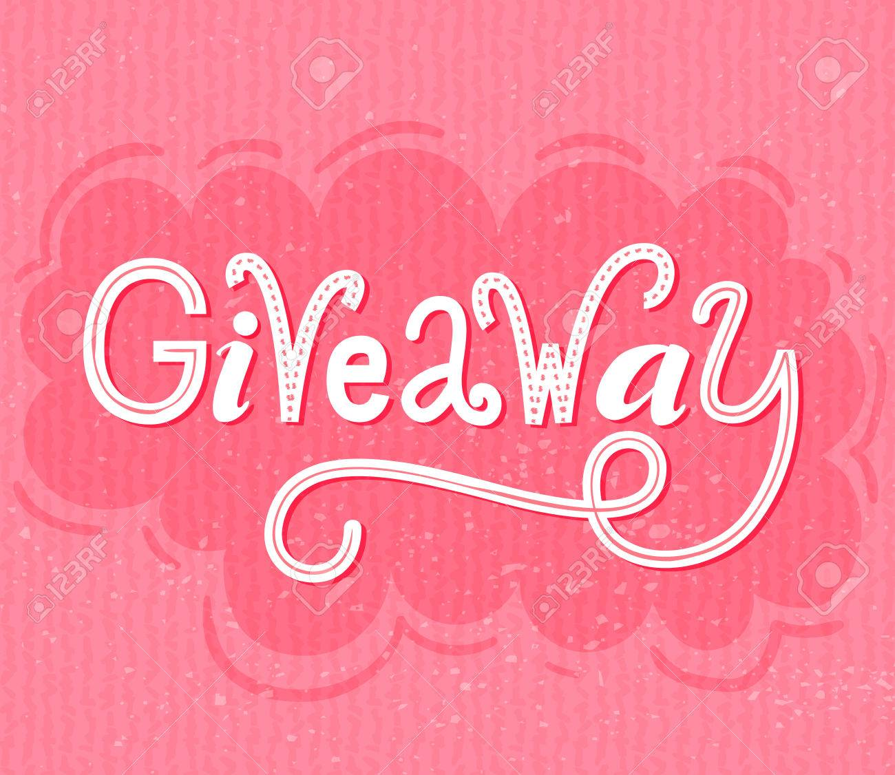 Giveaway Banner. Raffle Typography On Pink Grunge Background ...