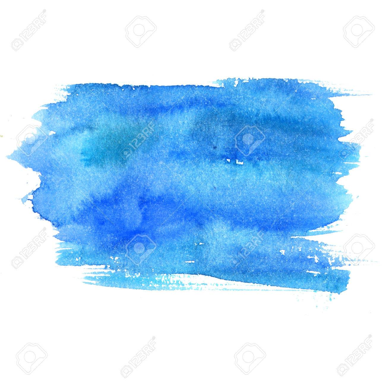 Blue watercolor stain isolated on white background. Artistic paint texture. - 60316502