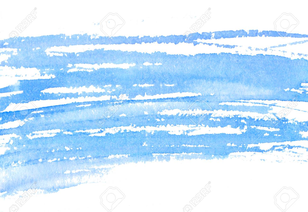 blue watercolor texture of dry brush strokes horizontal background