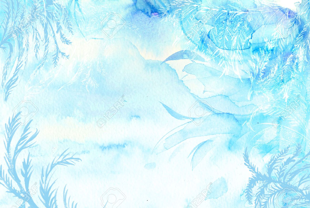 Winter Watercolor Background. Hand Painted Frozen Frame With.. Stock ...