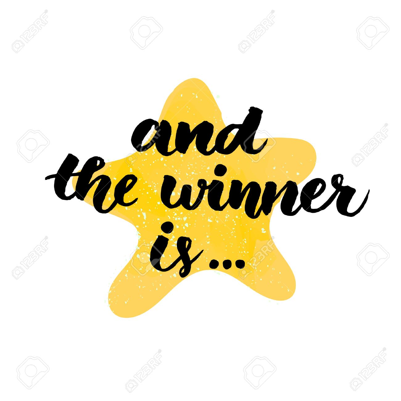 And the winner is. Giveaway banner for social media contests and special offer. Vector hand lettering at star background. Modern calligraphy style. - 59291091