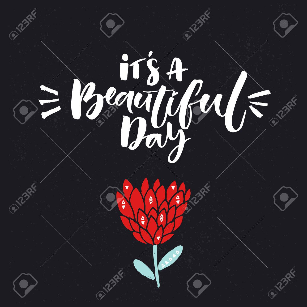 It s a beautiful day Inspiration quote and hand drawn red flower