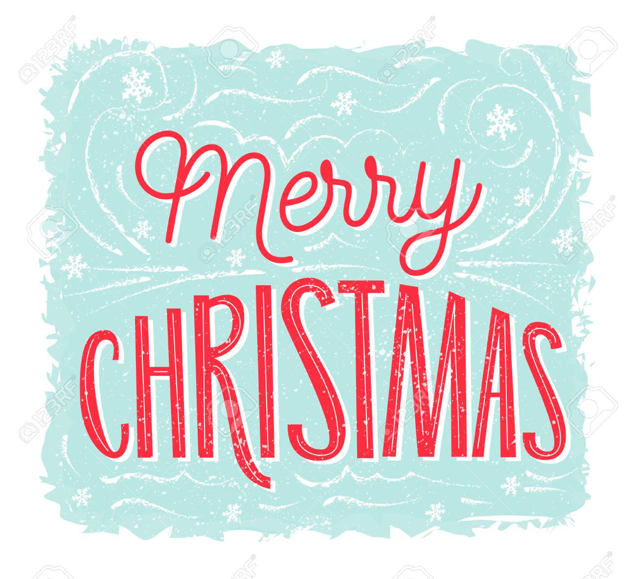 Merry Christmas Card With Lettering At Blue Frosty Background Vector Vintage Banner Design Stock Photo