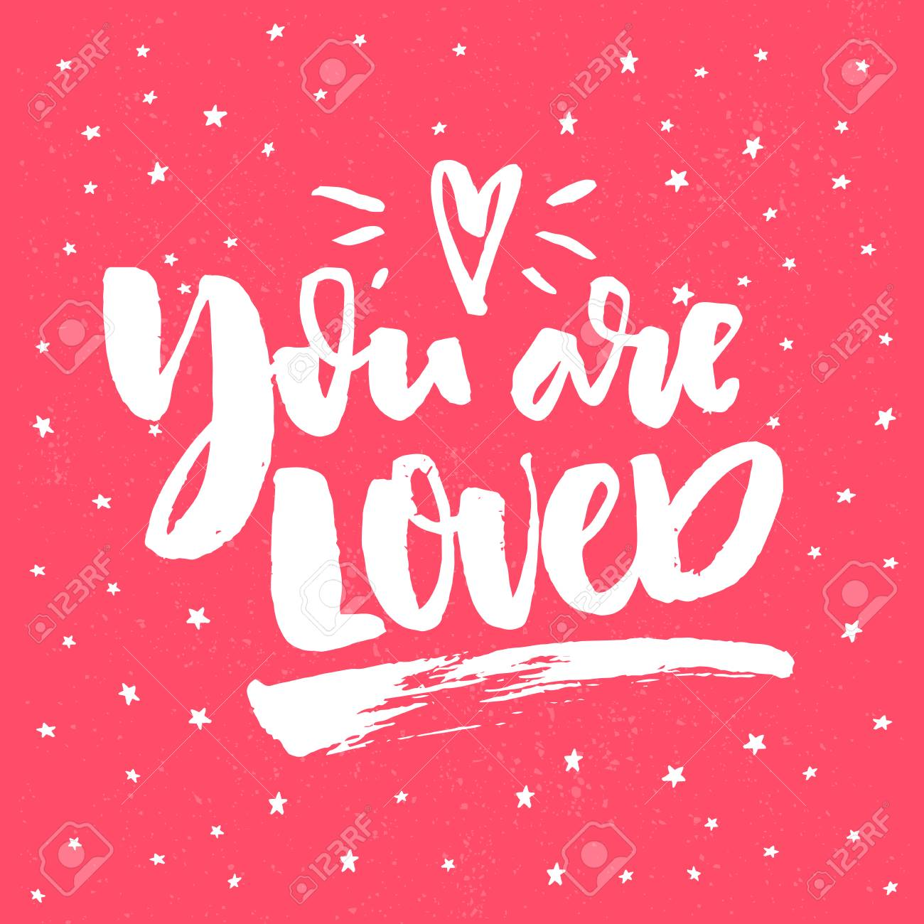 romantic quote for valentines day cards greetings t shits and wall art posters vector white on pink background with hand drawn stars