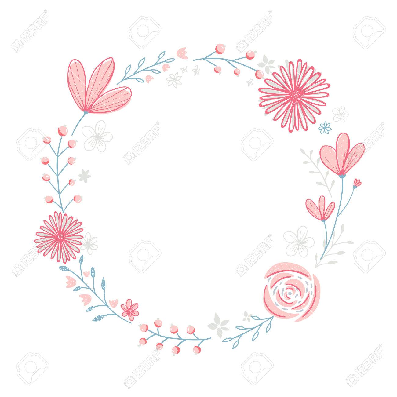 Floral Wreath Frame With Copyspace Hand Drawn Pastel Pink Flowers