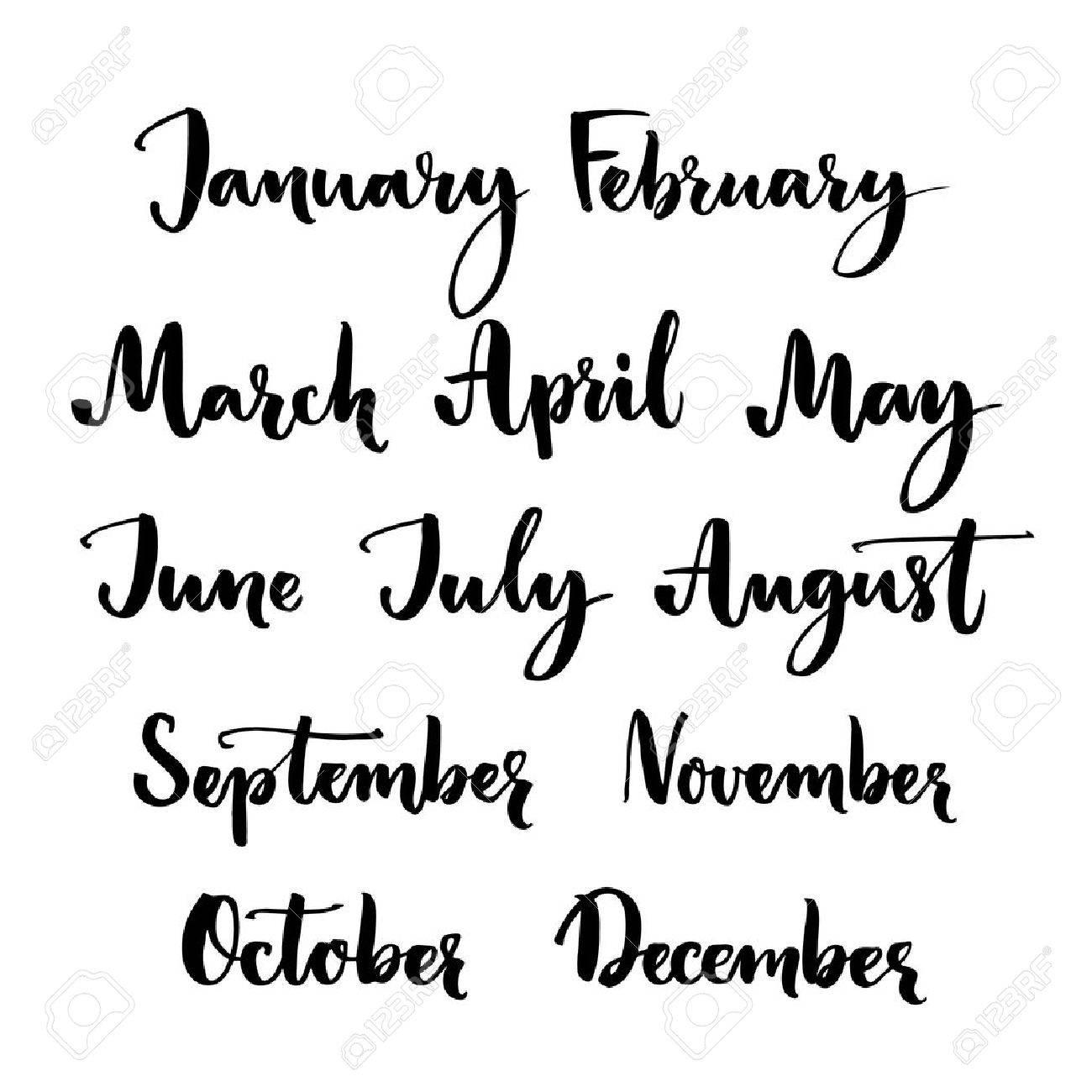 Manuscrito Meses Del Año Enero Febrero Marzo Abril Mayo Junio