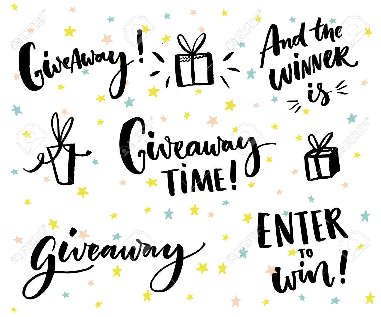 Giveaway text and design elements. Set of handwritten lettering and hand drawn gifts. Social media contest typography. Give away time, enter to win, end the winner is - 67044901